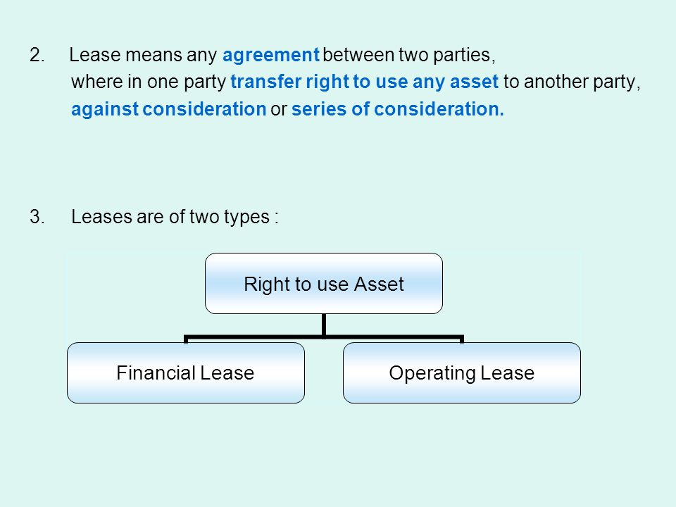Lease means any agreement between two parties,