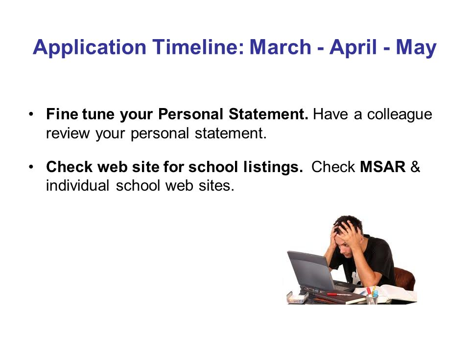 Application Timeline: March - April - May