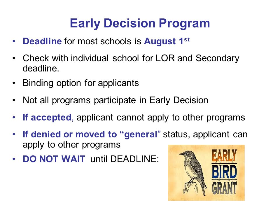 Early Decision Program