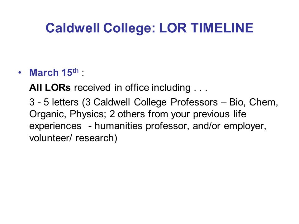 Caldwell College: LOR TIMELINE