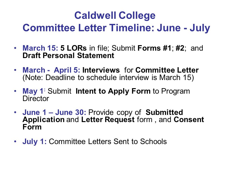Caldwell College Committee Letter Timeline: June - July