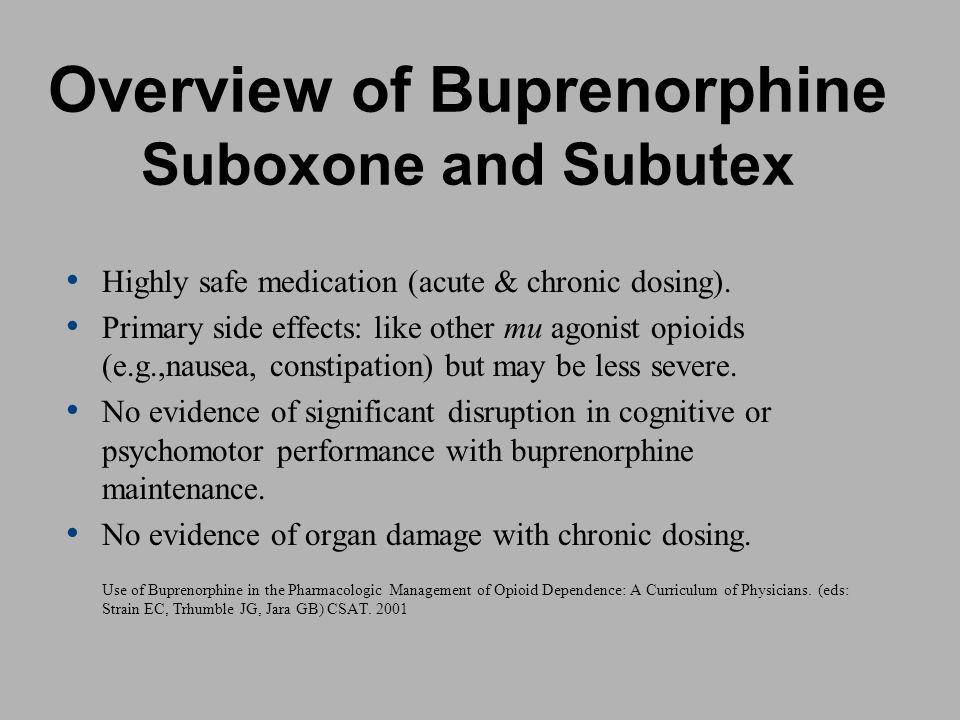Overview of Buprenorphine Suboxone and Subutex
