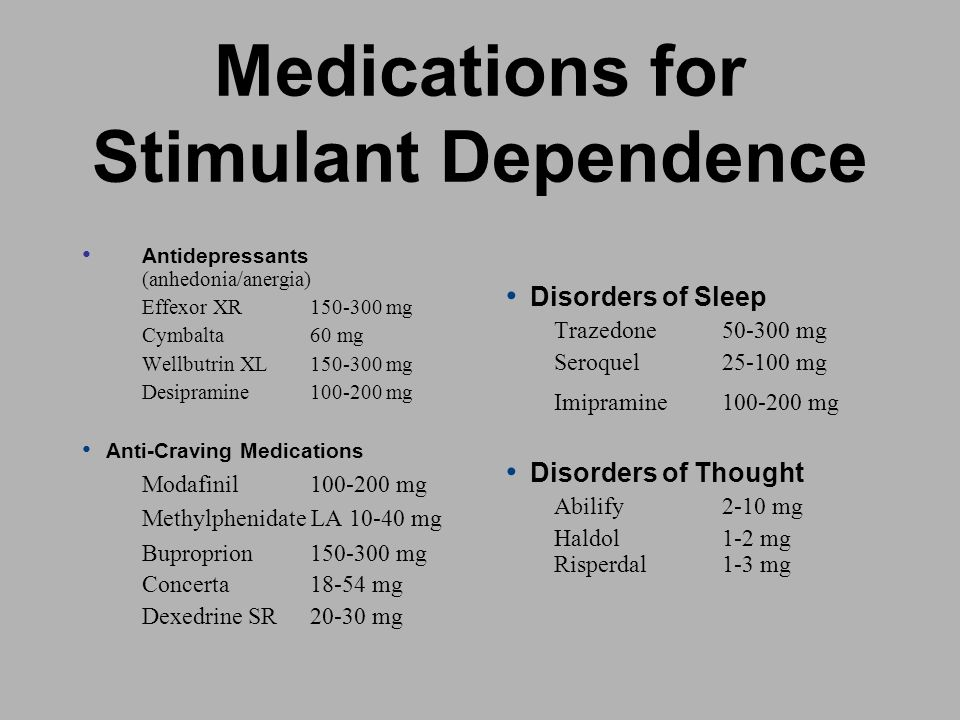 Medications for Stimulant Dependence