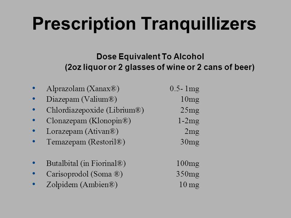 Prescription Tranquillizers