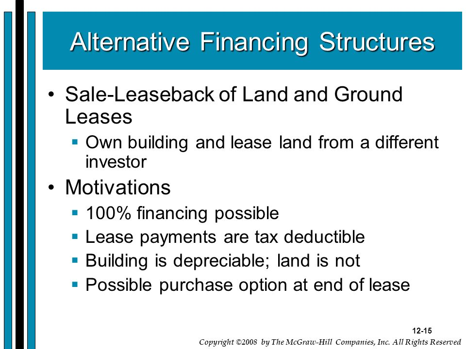 Alternative Financing Structures