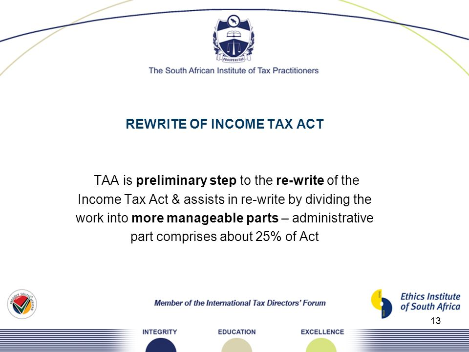 REWRITE OF INCOME TAX ACT TAA is preliminary step to the re-write of the Income Tax Act & assists in re-write by dividing the work into more manageable parts – administrative part comprises about 25% of Act