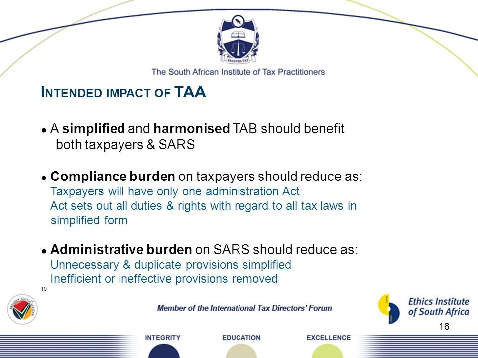INTENDED IMPACT OF TAA both taxpayers & SARS simplified form