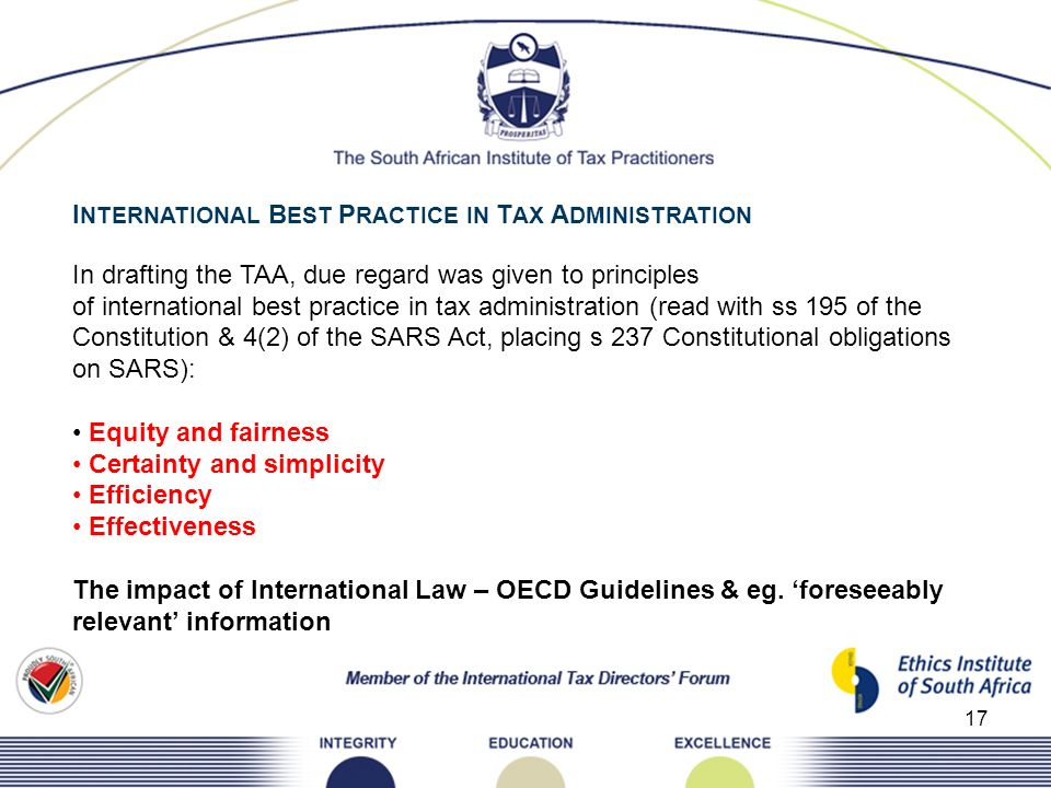 INTERNATIONAL BEST PRACTICE IN TAX ADMINISTRATION