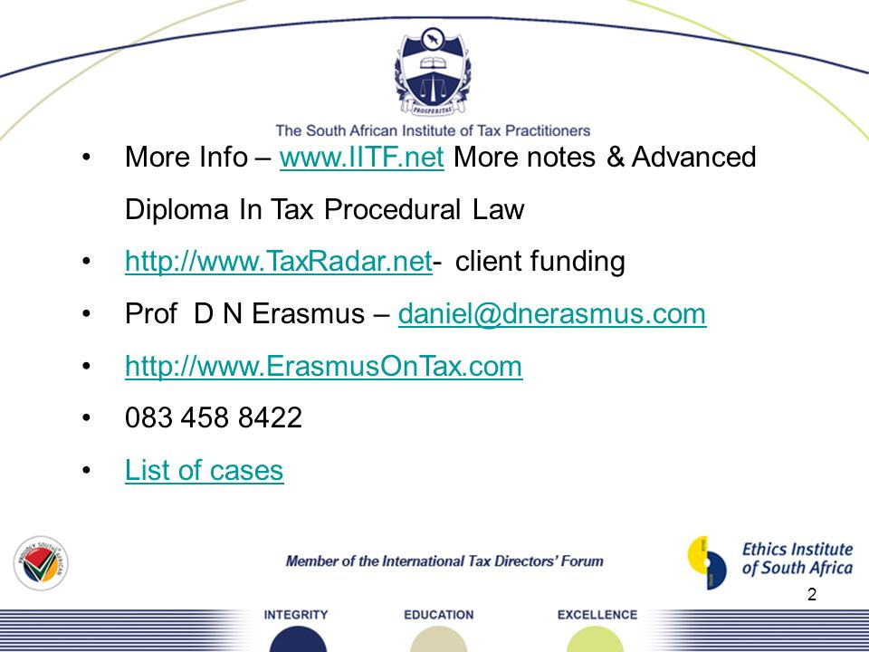 More Info –   More notes & Advanced Diploma In Tax Procedural Law