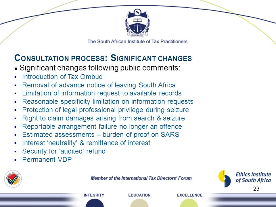 CONSULTATION PROCESS: SIGNIFICANT CHANGES