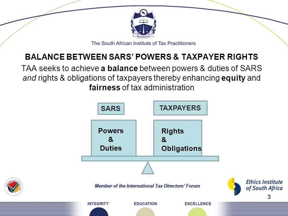 BALANCE BETWEEN SARS' POWERS & TAXPAYER RIGHTS TAA seeks to achieve a balance between powers & duties of SARS and rights & obligations of taxpayers thereby enhancing equity and fairness of tax administration