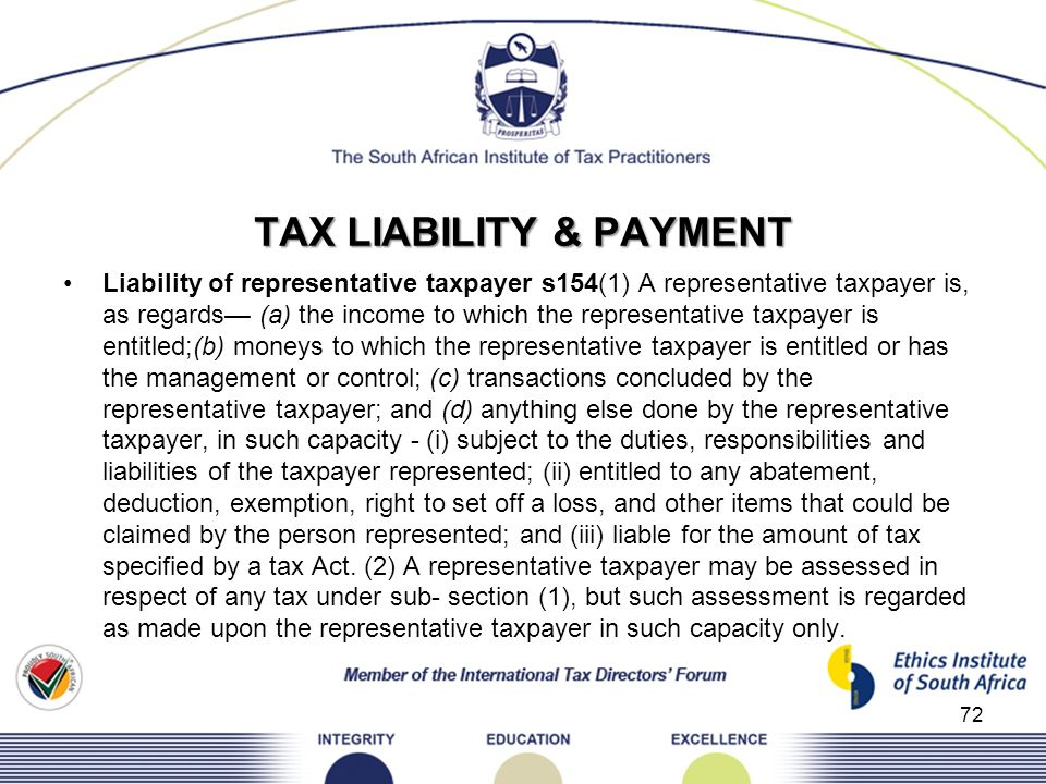 TAX LIABILITY & PAYMENT