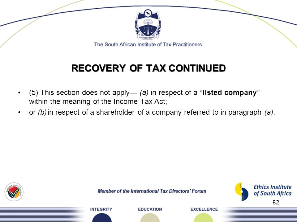 RECOVERY OF TAX CONTINUED