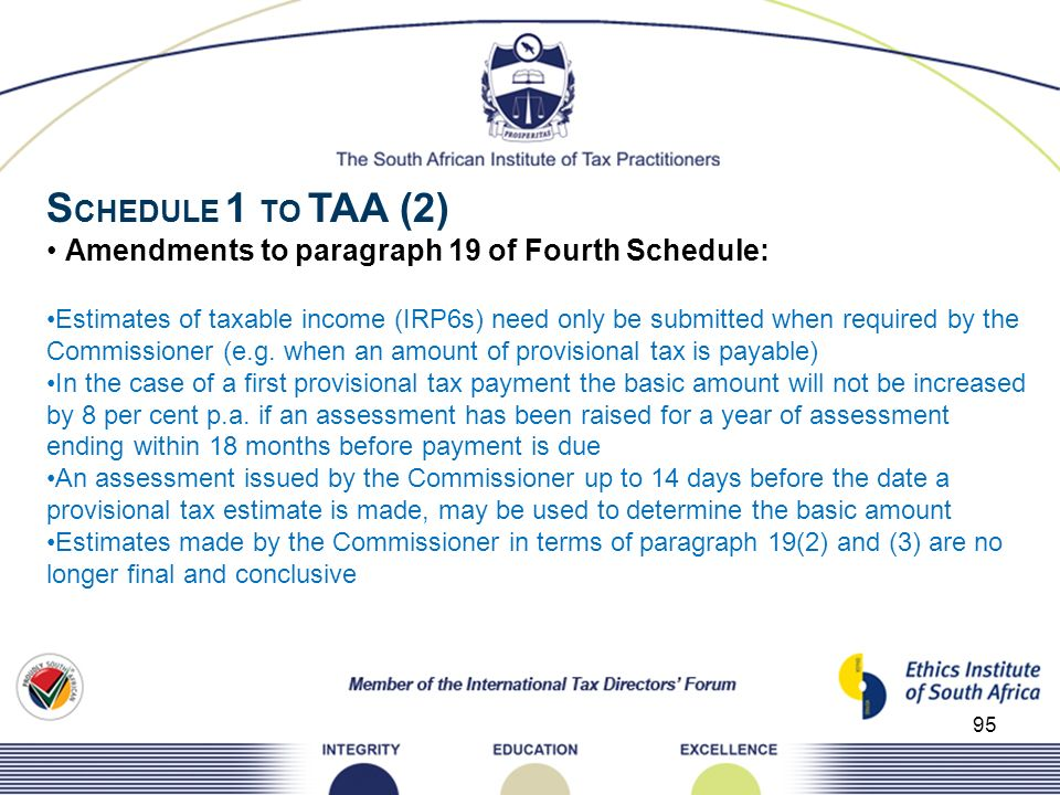 SCHEDULE 1 TO TAA (2) • Amendments to paragraph 19 of Fourth Schedule: