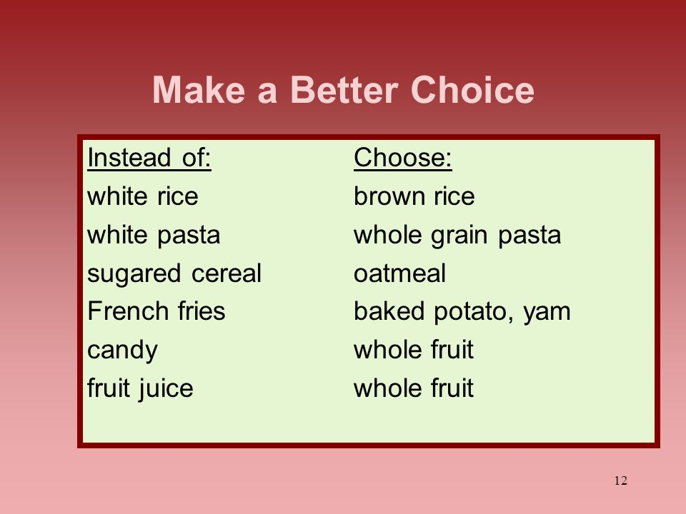 Make a Better Choice Instead of: Choose: white rice brown rice
