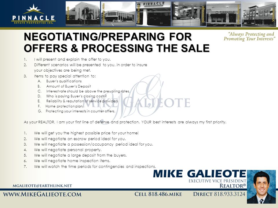 NEGOTIATING/PREPARING FOR OFFERS & PROCESSING THE SALE