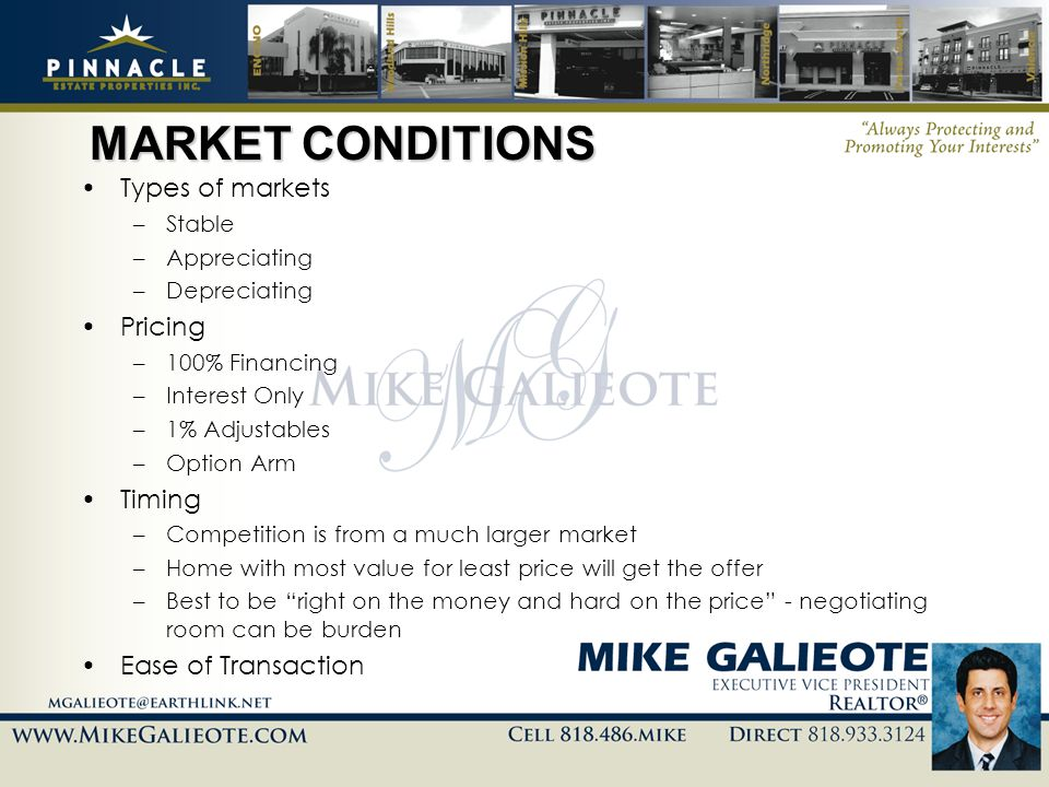 MARKET CONDITIONS Types of markets Pricing Timing Ease of Transaction