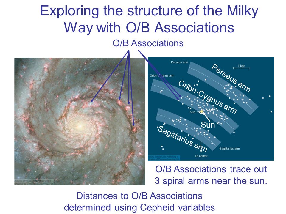 Exploring the structure of the Milky Way with O/B Associations