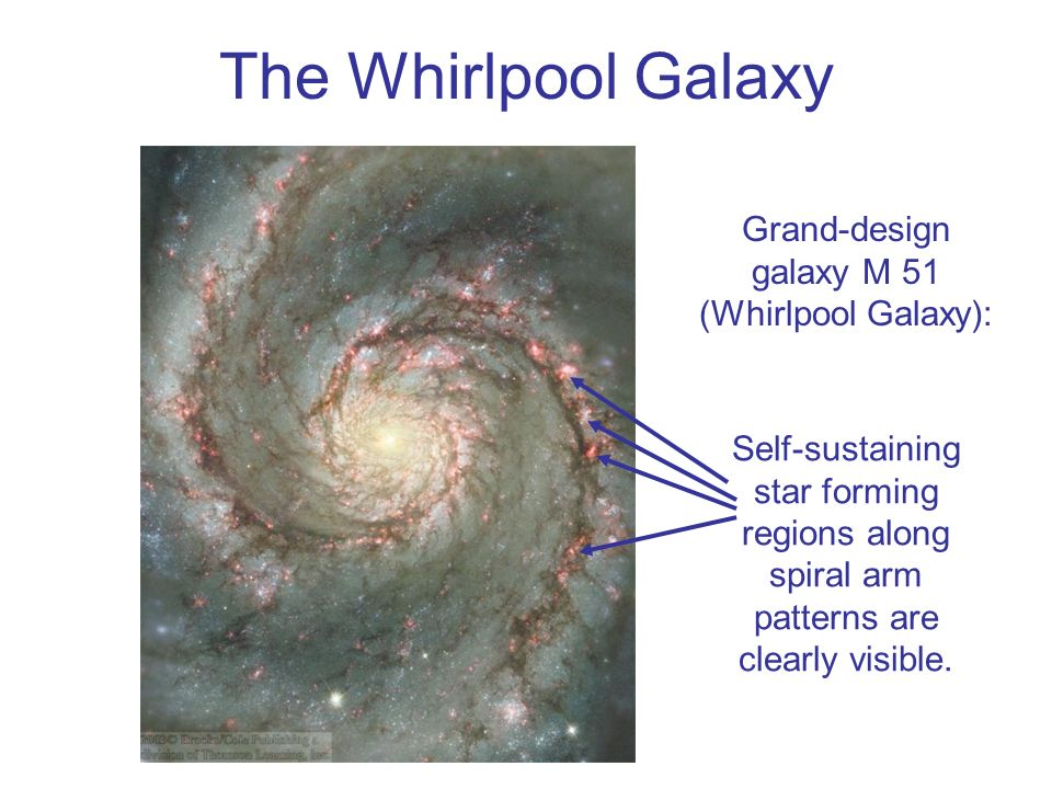 Grand-design galaxy M 51 (Whirlpool Galaxy):