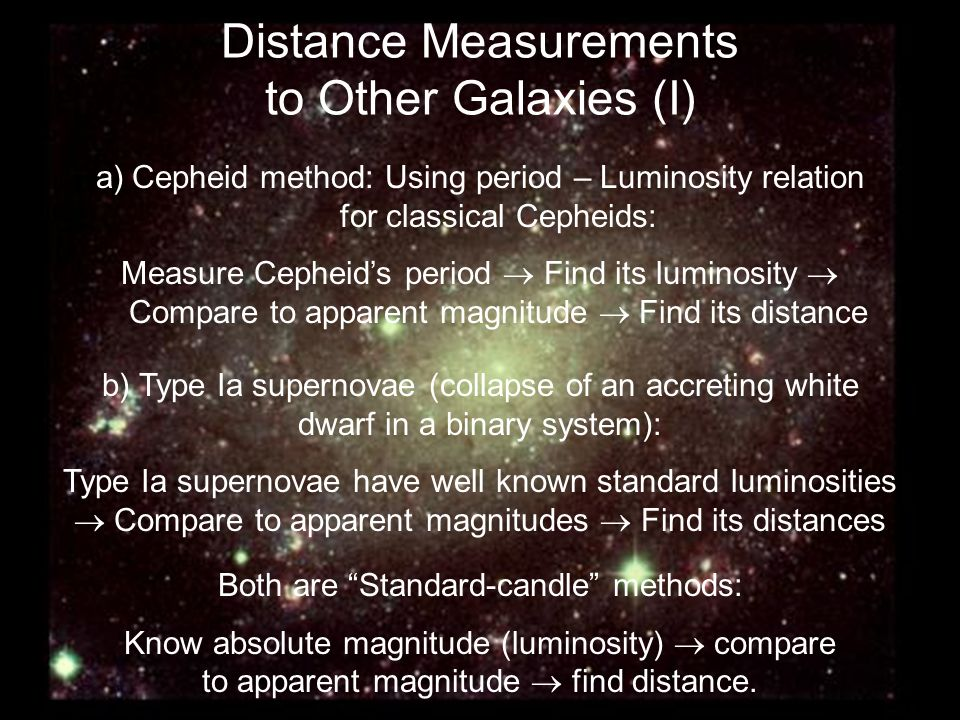 Distance Measurements to Other Galaxies (I)