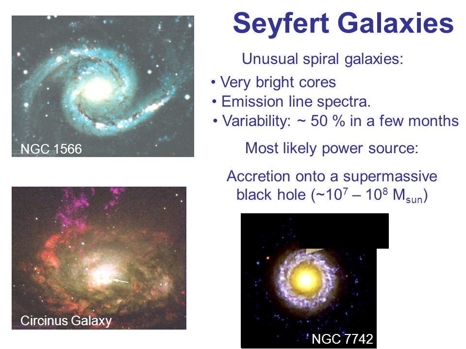 Seyfert Galaxies Unusual spiral galaxies: Very bright cores
