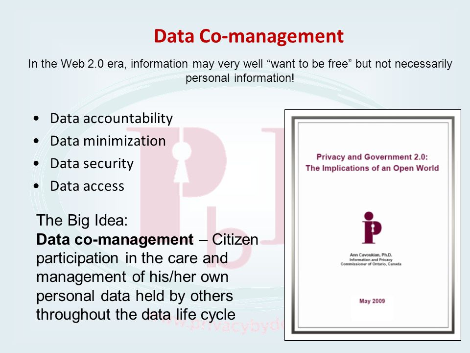 Data Co-management Data accountability Data minimization Data security