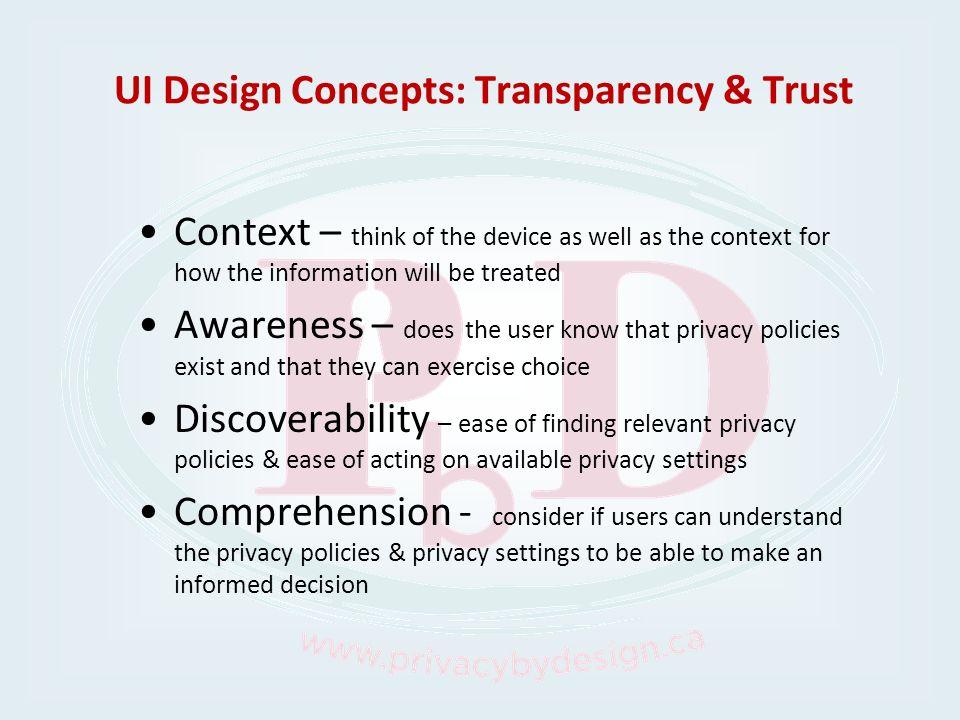 UI Design Concepts: Transparency & Trust