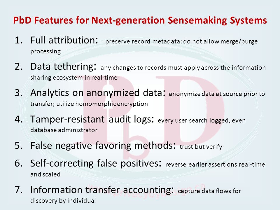 PbD Features for Next-generation Sensemaking Systems