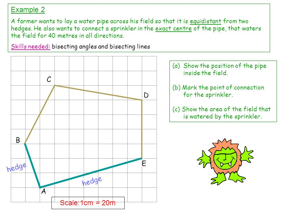 Example 2 C D B E hedge hedge A Scale:1cm = 20m