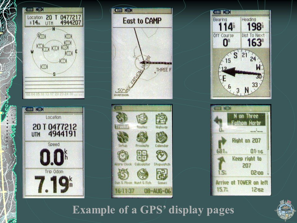 Example of a GPS' display pages