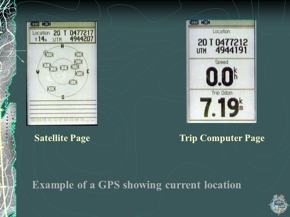 Example of a GPS showing current location