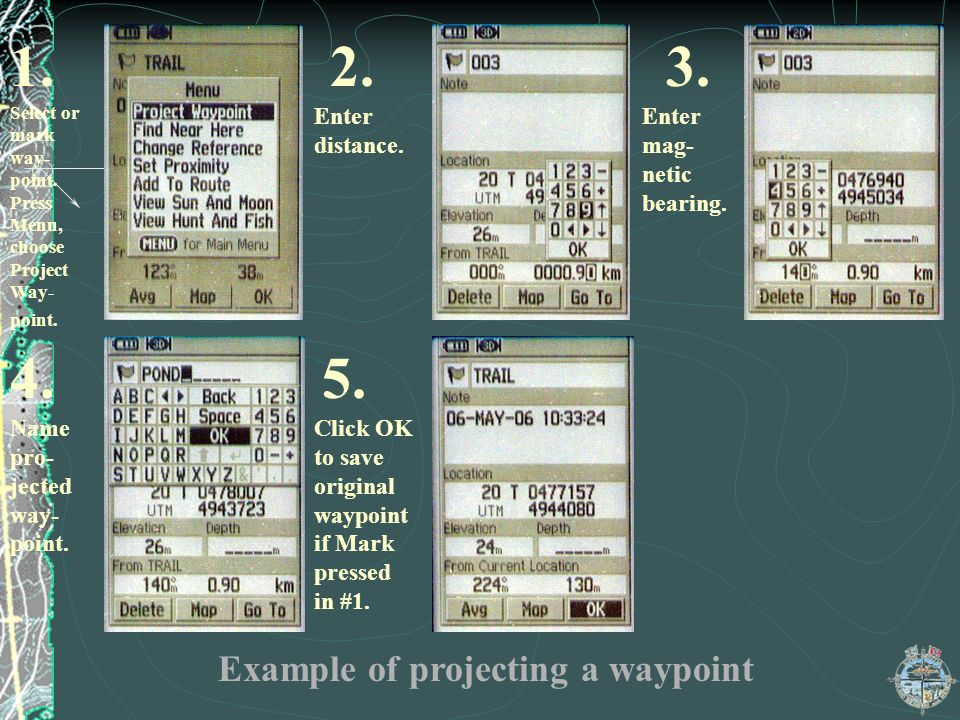 1. 2. 3. 4. 5. Example of projecting a waypoint Enter distance.