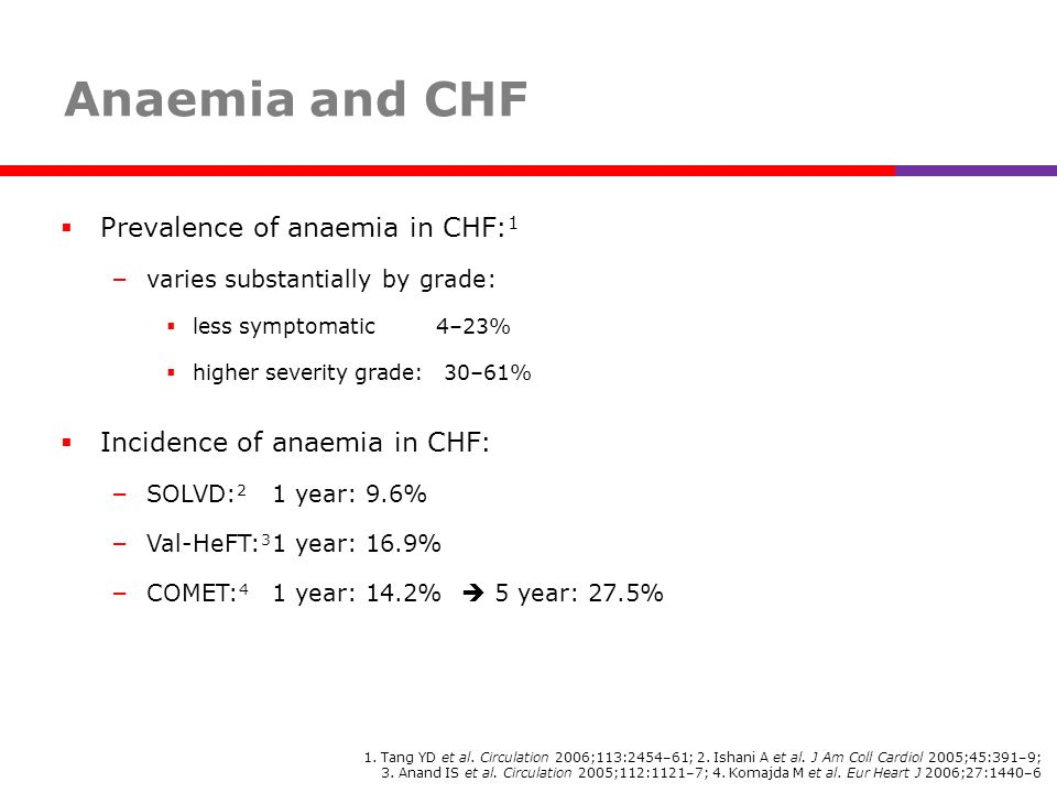 Anaemia and CHF Prevalence of anaemia in CHF:1