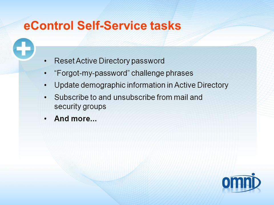 eControl Self-Service tasks