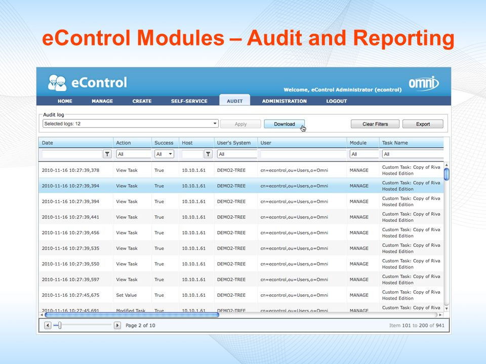 eControl Modules – Audit and Reporting