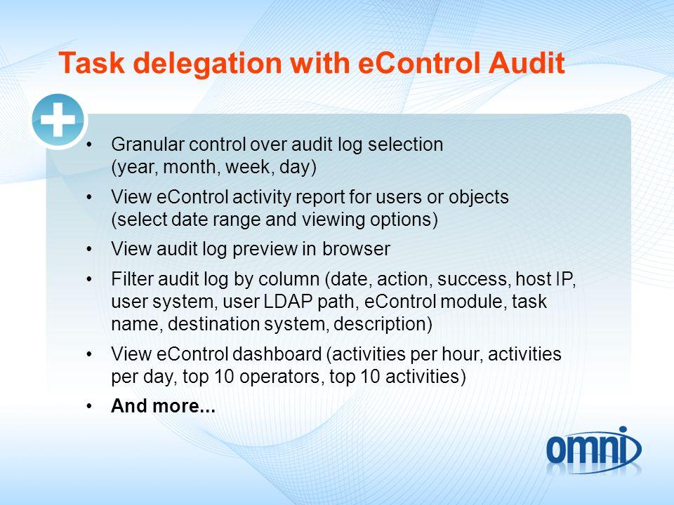 Task delegation with eControl Audit