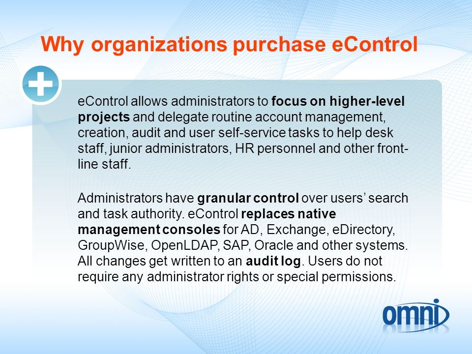 Why organizations purchase eControl