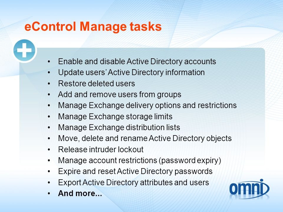 eControl Manage tasks Enable and disable Active Directory accounts