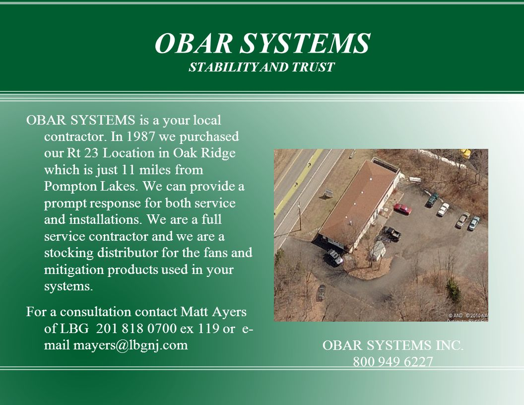 OBAR SYSTEMS STABILITY AND TRUST