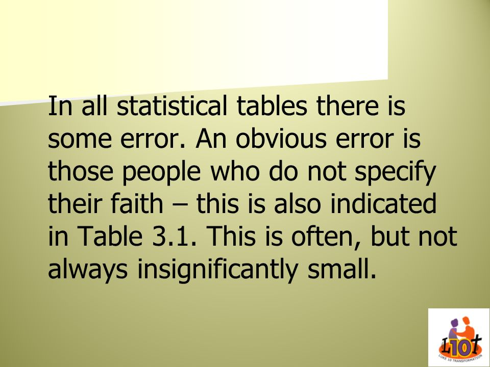 In all statistical tables there is some error