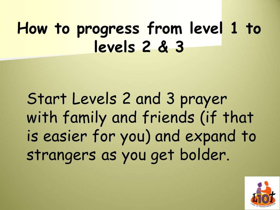 How to progress from level 1 to levels 2 & 3