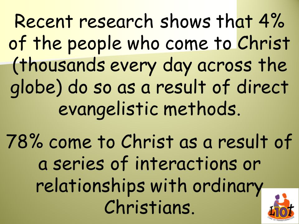 Recent research shows that 4% of the people who come to Christ (thousands every day across the globe) do so as a result of direct evangelistic methods.