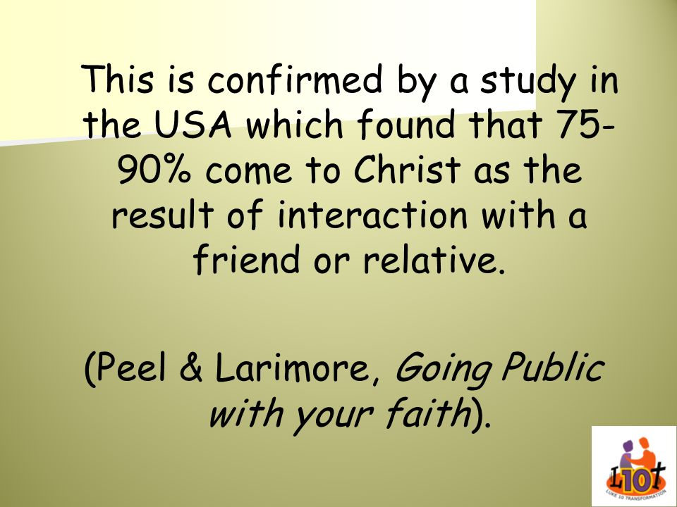 (Peel & Larimore, Going Public with your faith).
