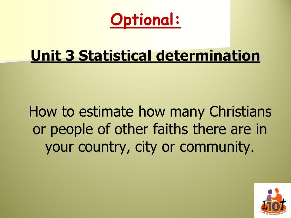 Optional: Unit 3 Statistical determination