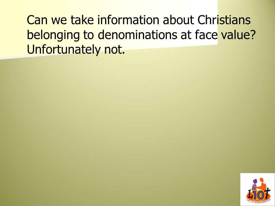 Can we take information about Christians belonging to denominations at face value.