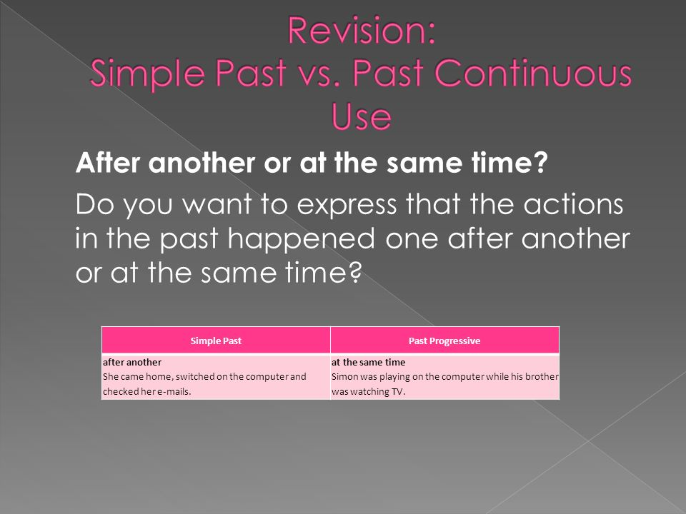 Revision: Simple Past vs. Past Continuous Use