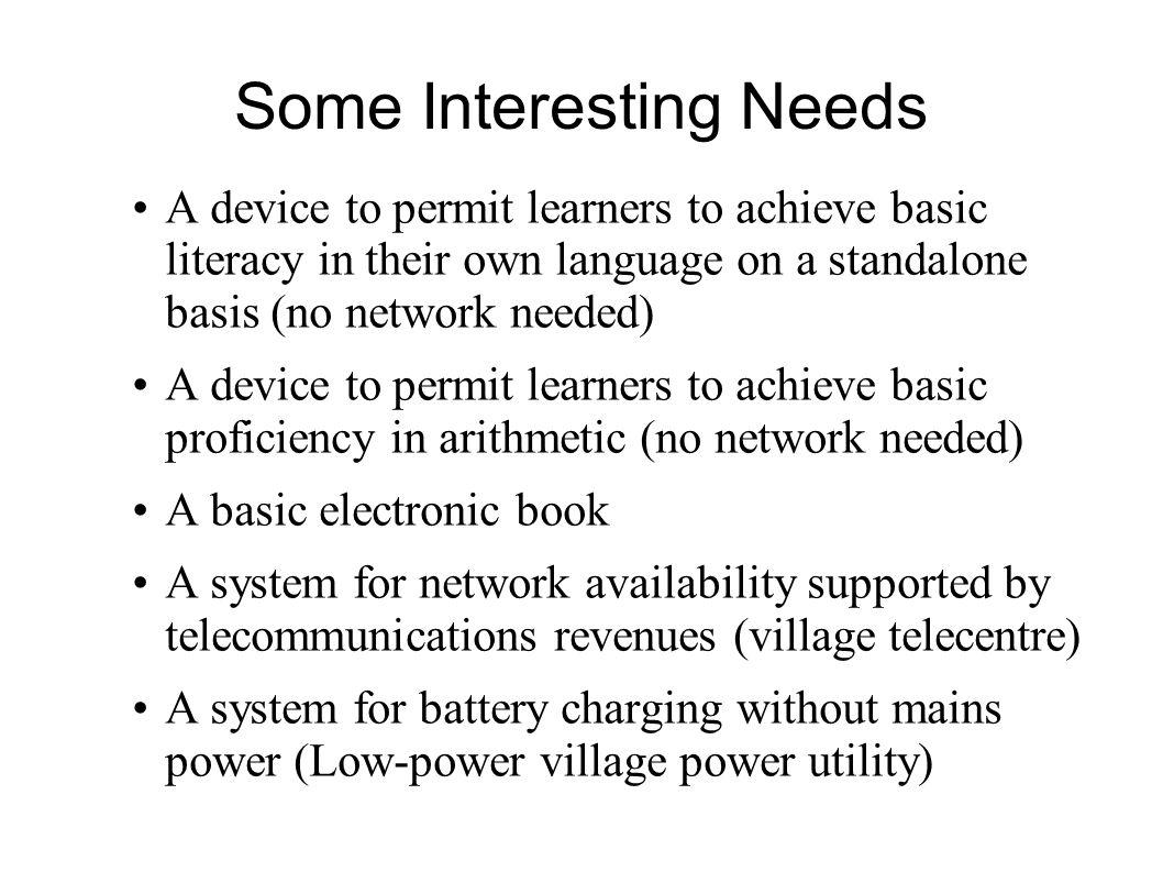 Some Interesting Needs