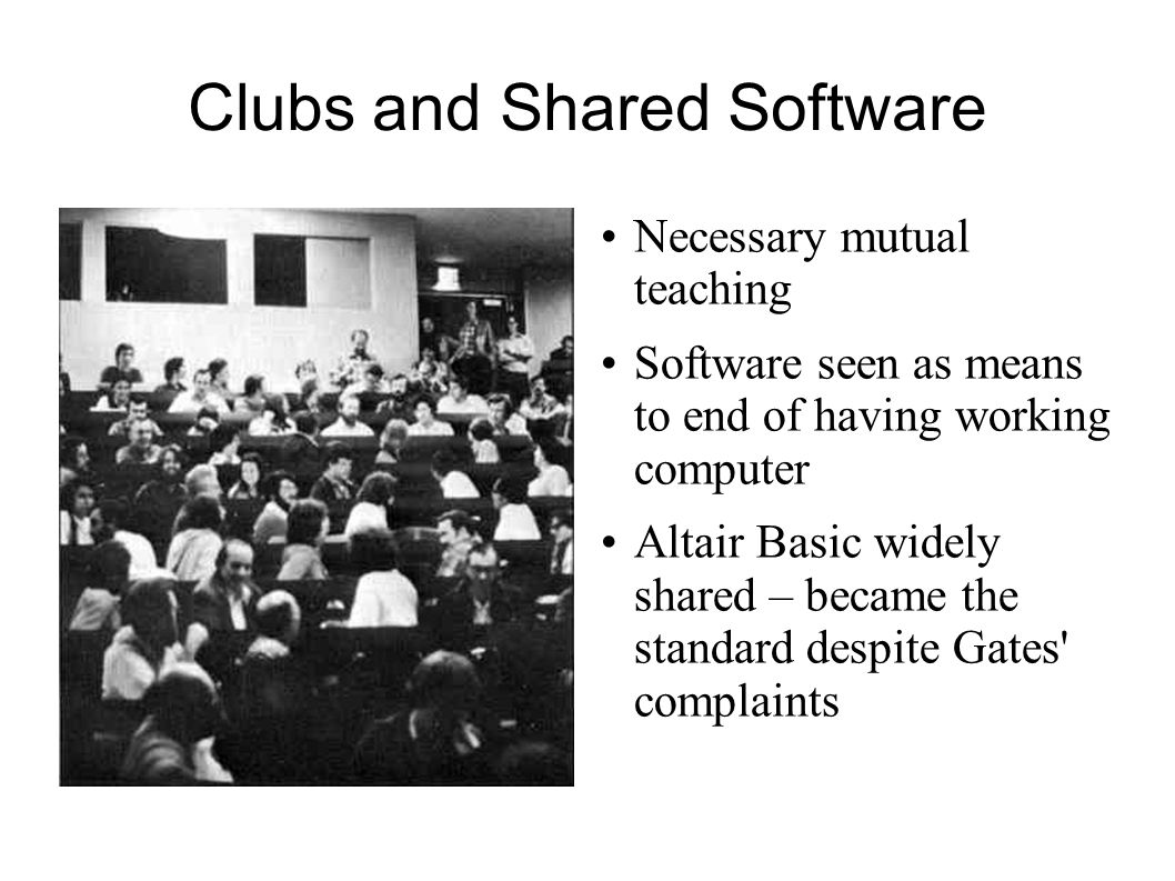 Clubs and Shared Software
