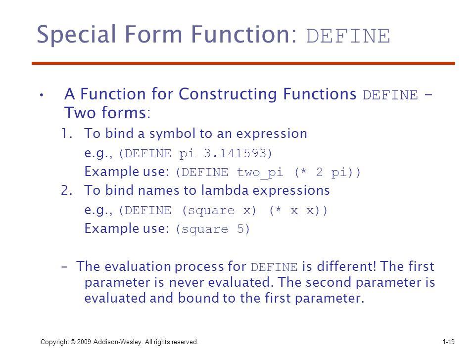 Special Form Function: DEFINE