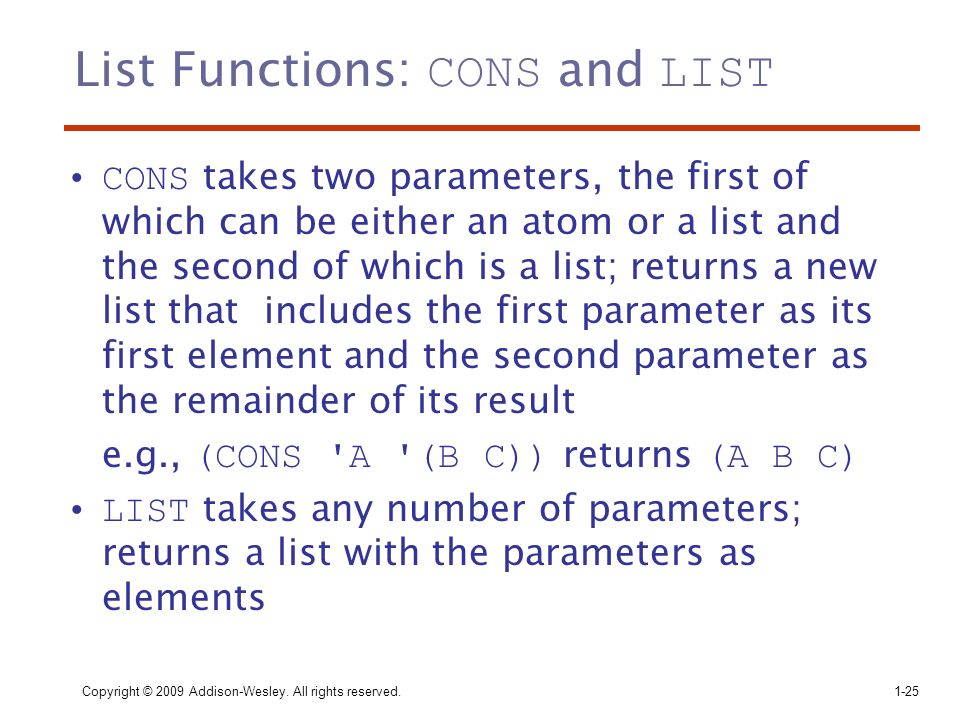 List Functions: CONS and LIST
